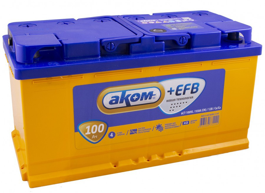 Аккумулятор Аком 6СТ-100, арт. 6СТ-100 0 +EFB