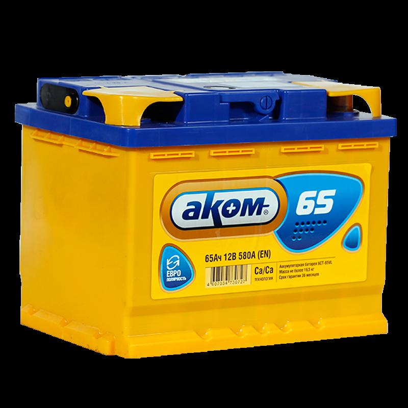 Аккумулятор Аком 6СТ-65, арт. 6СТ-65VL 0