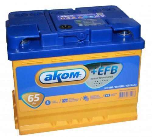 Аккумулятор Аком 6СТ-65+EFB, арт. 6СТ-65 0 +EFB