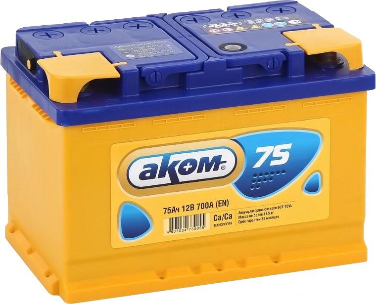 Аккумулятор Аком 6СТ-75, арт. 6СТ-75VL 0