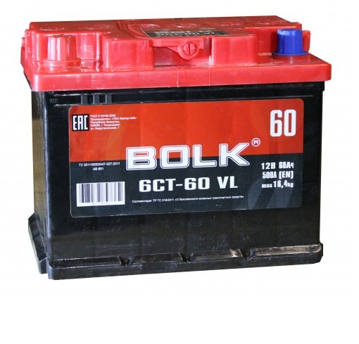 Аккумулятор Bolk 6CT-60 VL, арт. AB 601