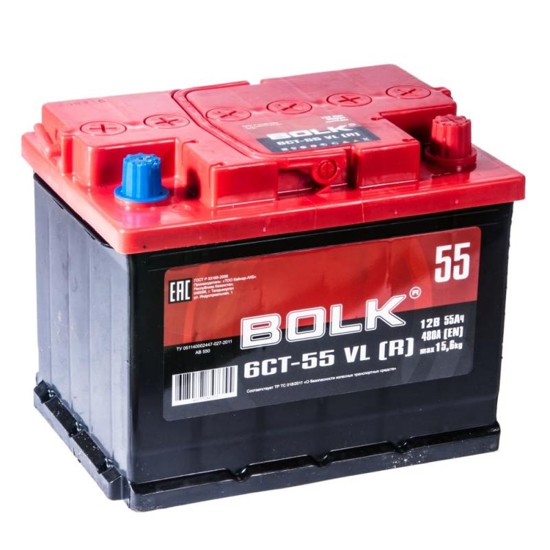 Аккумулятор Bolk 6CT-55 VL (R), арт. AB550